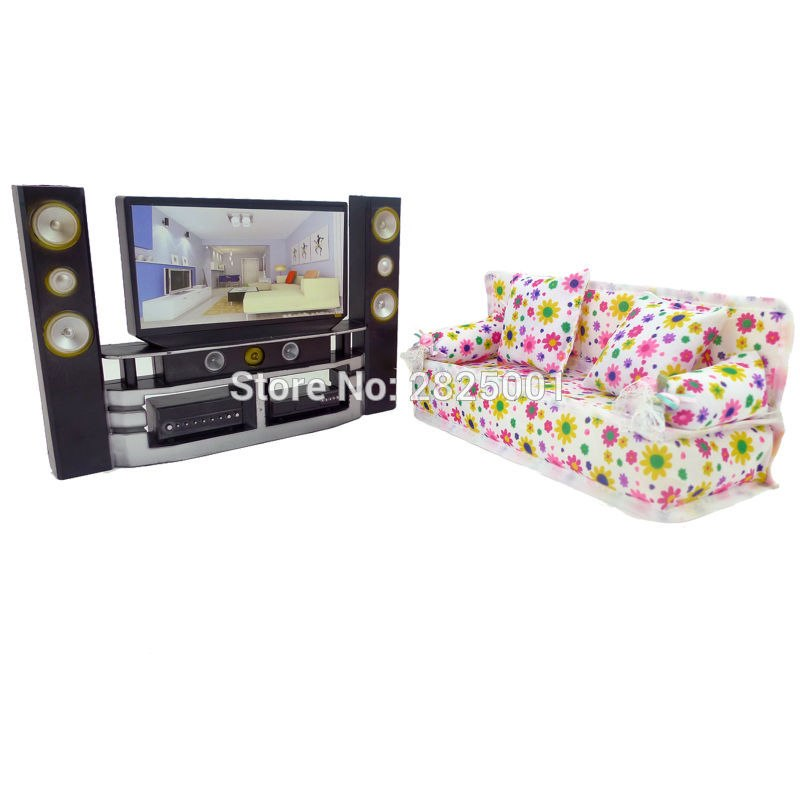 lot salon canape et meuble tv hifi pour barbie bjdbus