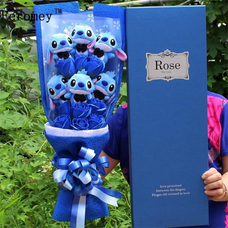bouquet de peluches stitch bleu ou rose divers tailles