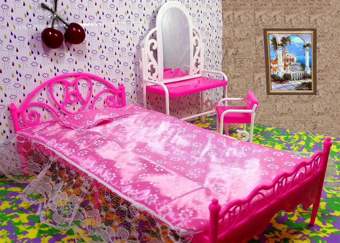 grand lit et coiffeuse pour barbie