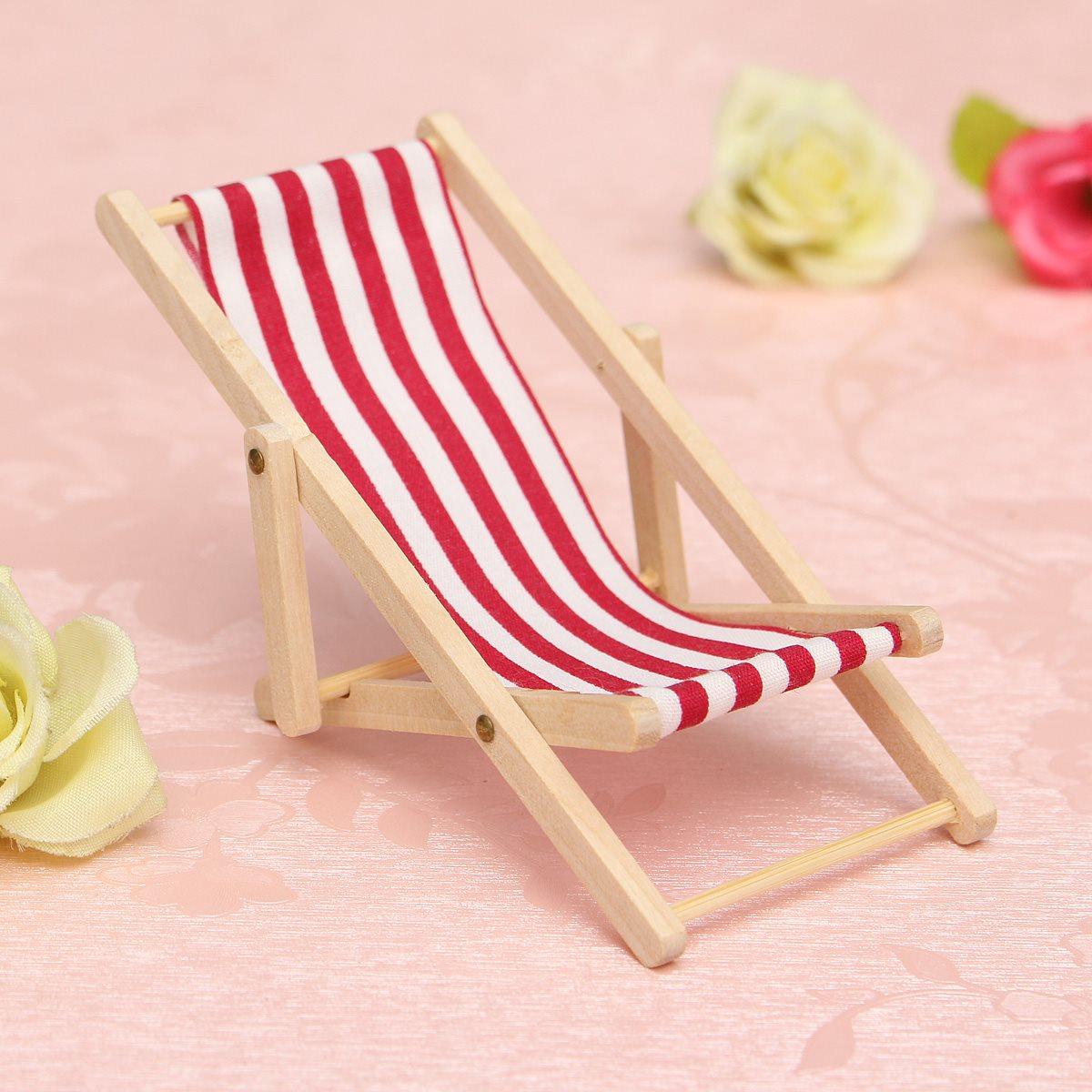 chaise pliable en bois de plage rouge pour barbie