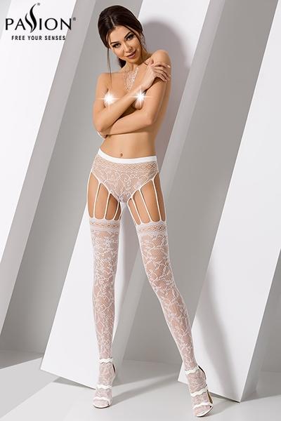 Collant effet bas blanc S003 passion lingerie