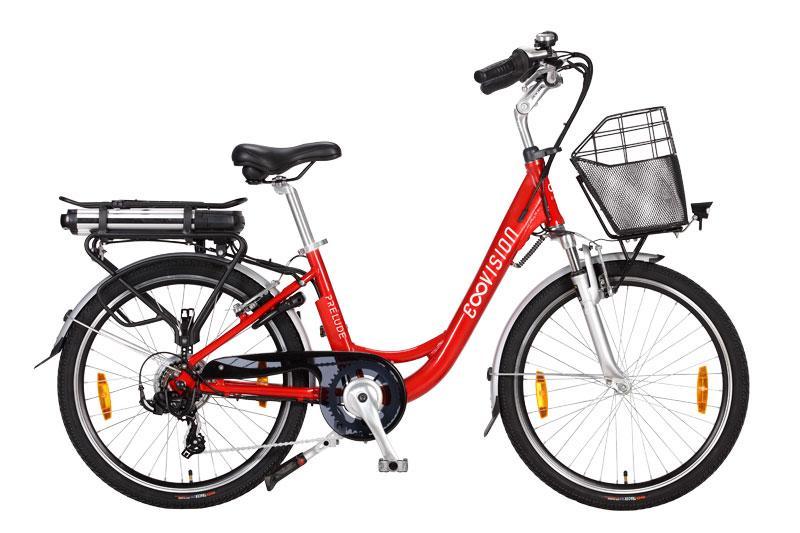 Vélo électrique haut de gamme femme E-vision 24 pouces h38 rouge