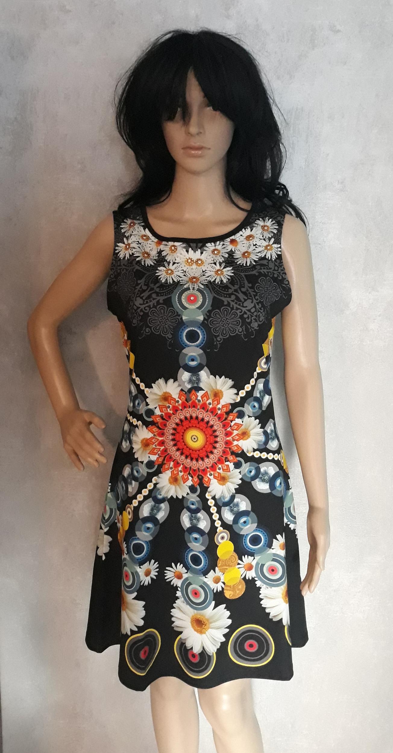 robe 101 idées évasée à imprimé fleuri ao a0202 noir