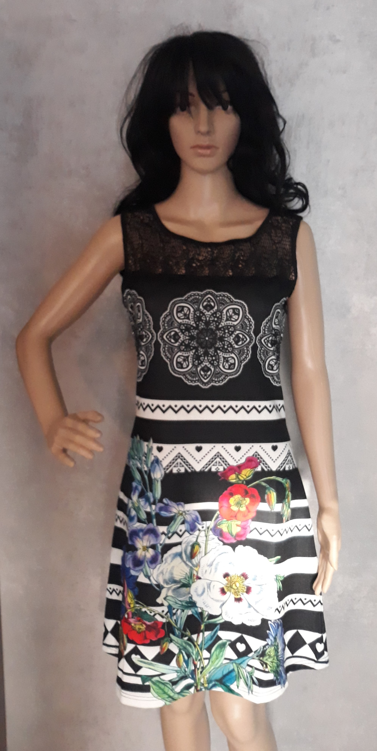 Robe 101 idées soldes 101 idees paris femme imprimé noir A2801