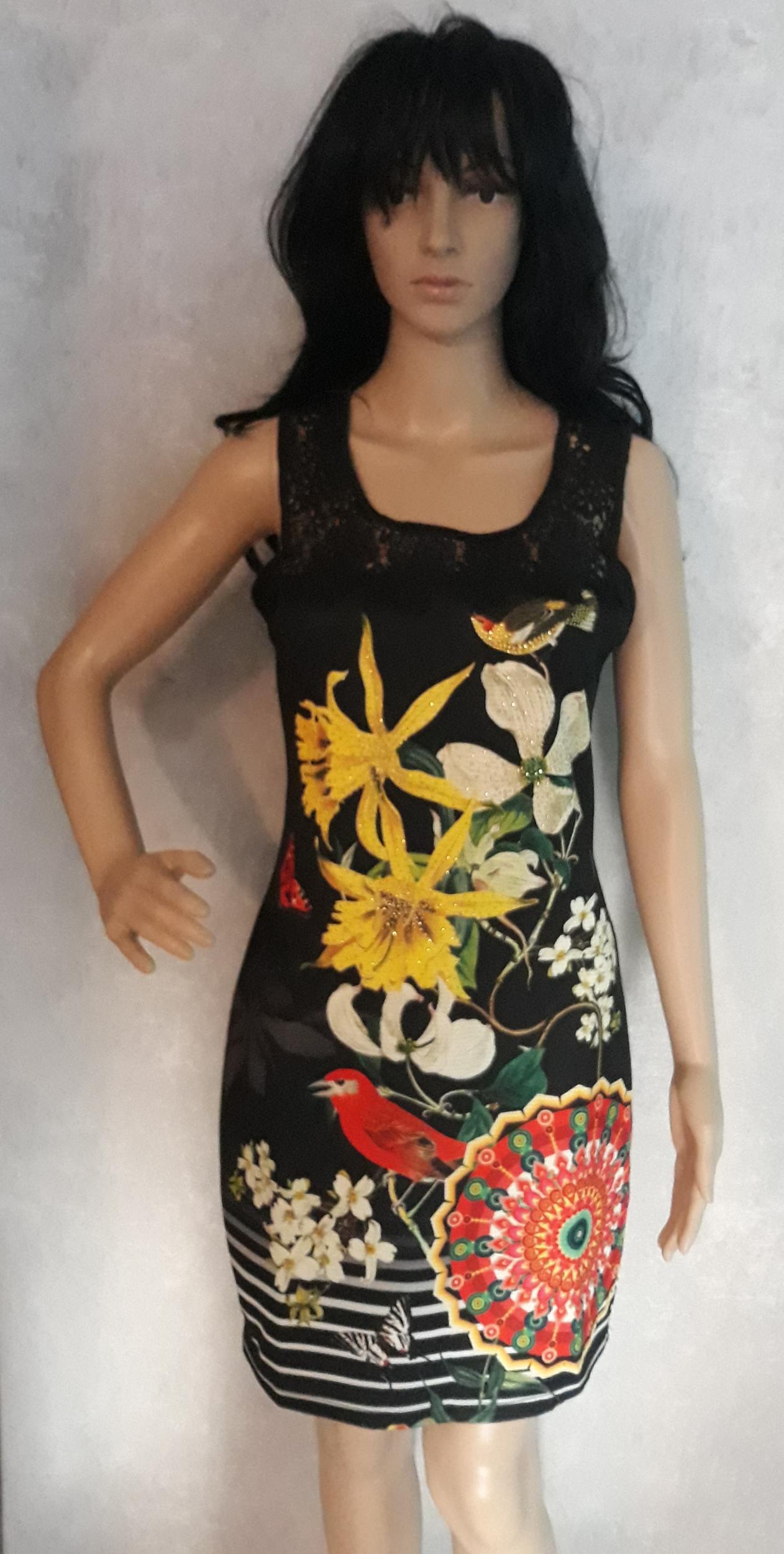 robe 101 idées droite à dentelles et imprimé eo b0601 noir