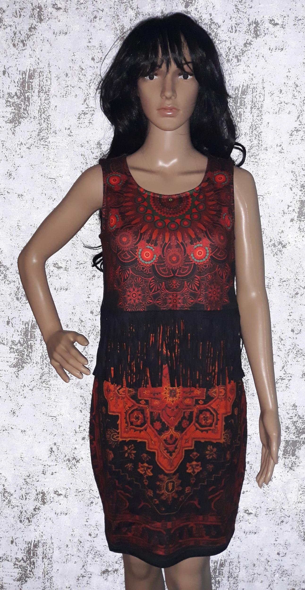 robe 101 idées droite à franges et imprimé eo m198 rouge
