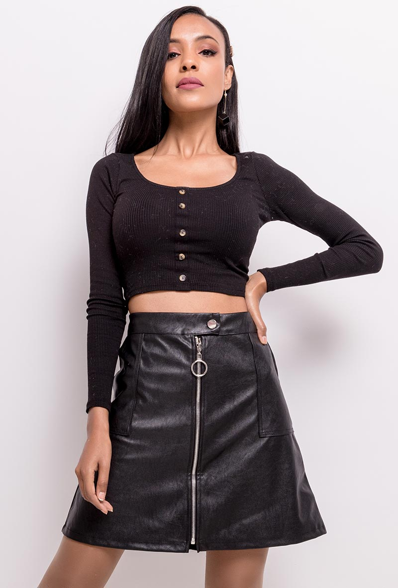 jupe zippée en similicuir noire in vogue grande taille