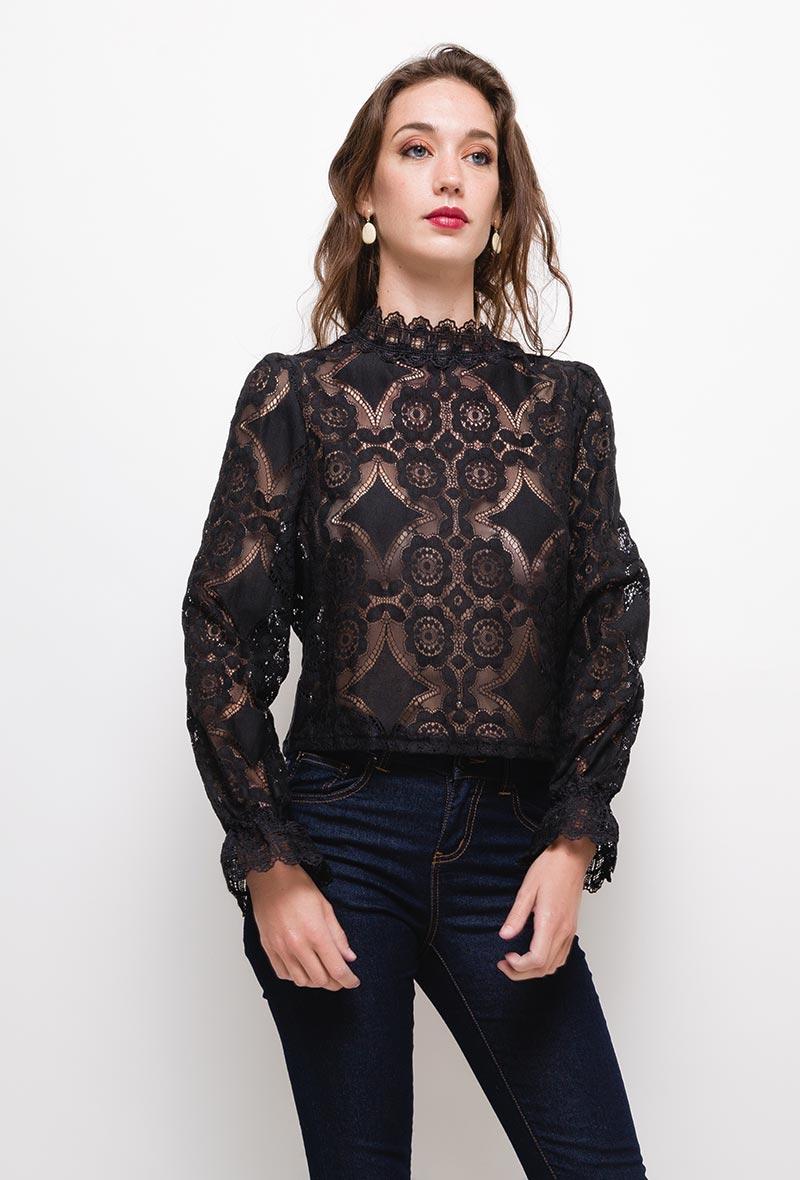 blouse en dentelle noire in vogue S-M-L