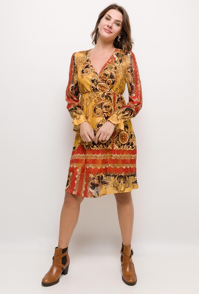 robe en dentelle imprimée 101 idées N8503 SM-ML-LXL