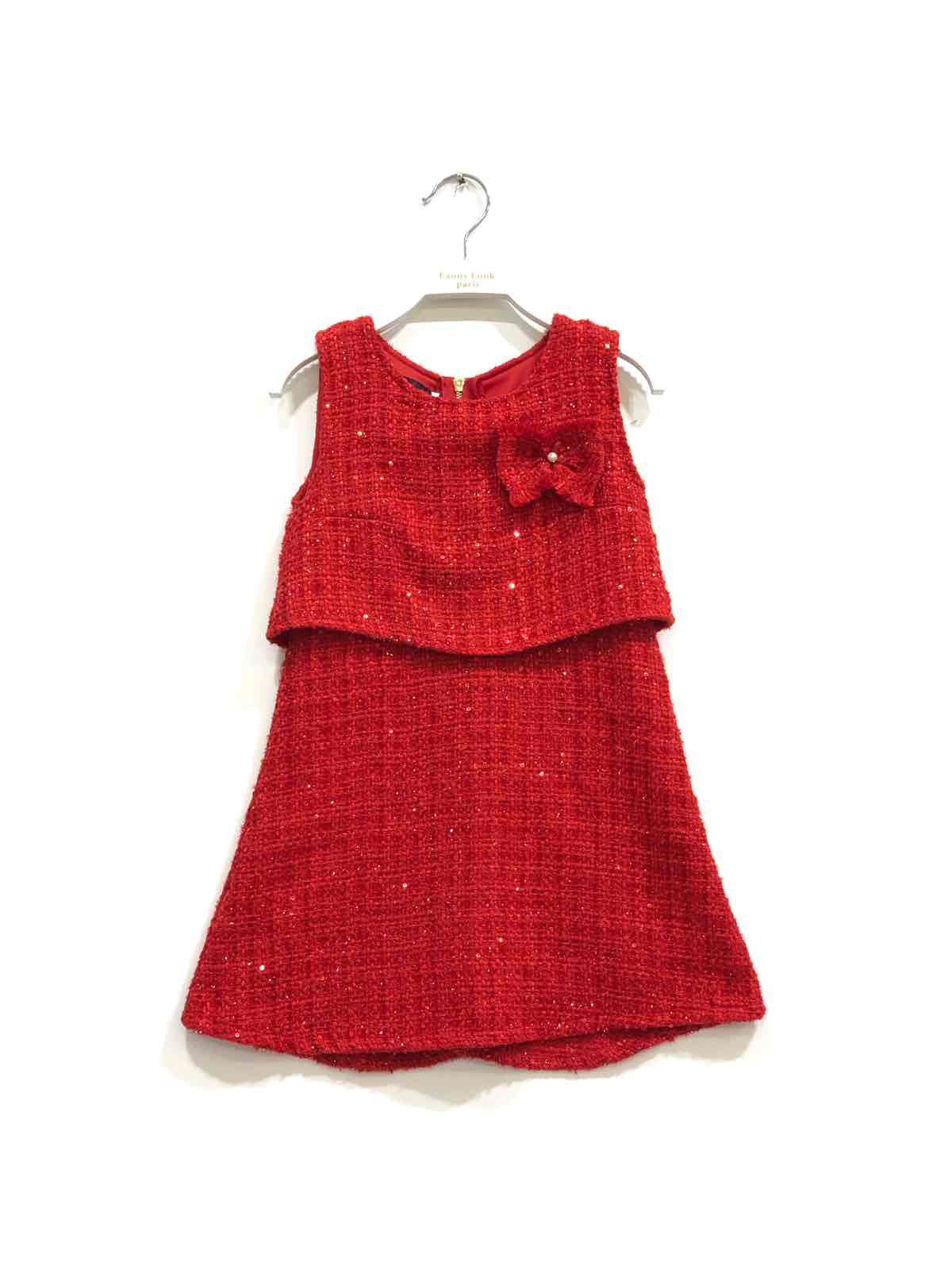 robe rouge fille 2-12 ans fanny look 7391 collection automne/hiver 2020