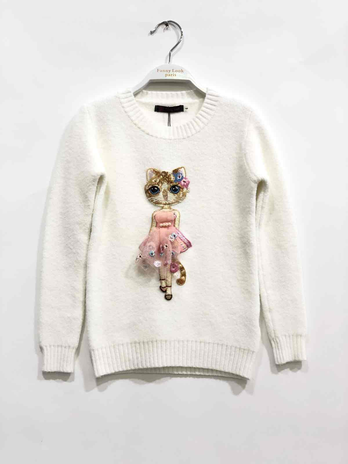 pull blanc fille 4-14 ans fanny look F56 collection automne/hiver 2020