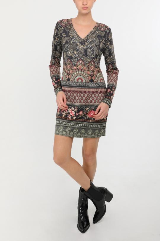 robe courte 101 idées M03259 kaki SM-ML-LXL