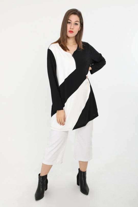 tunique grande taille femme 2W PARIS h3370 noir blanc 46-60