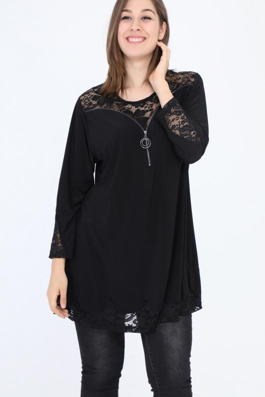 tunique grande taille femme 2W PARIS h3372 noir 46-60
