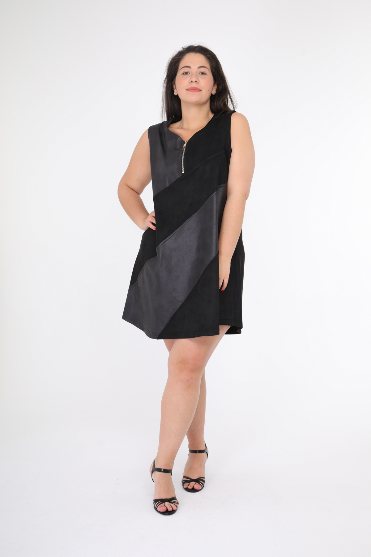 robe grande taille femme 2W PARIS r1257 noir 46-60