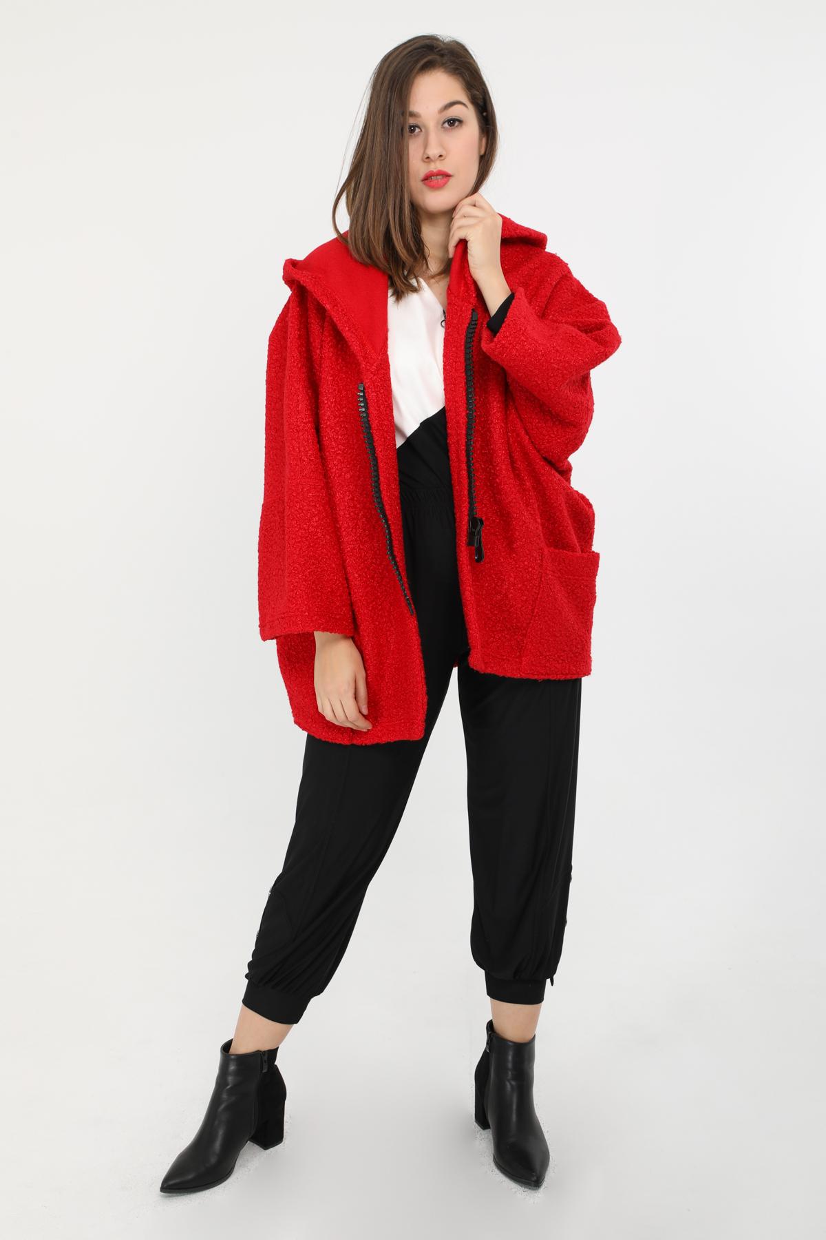 manteau grande taille femme 2W PARIS m1291 rouge 46-60