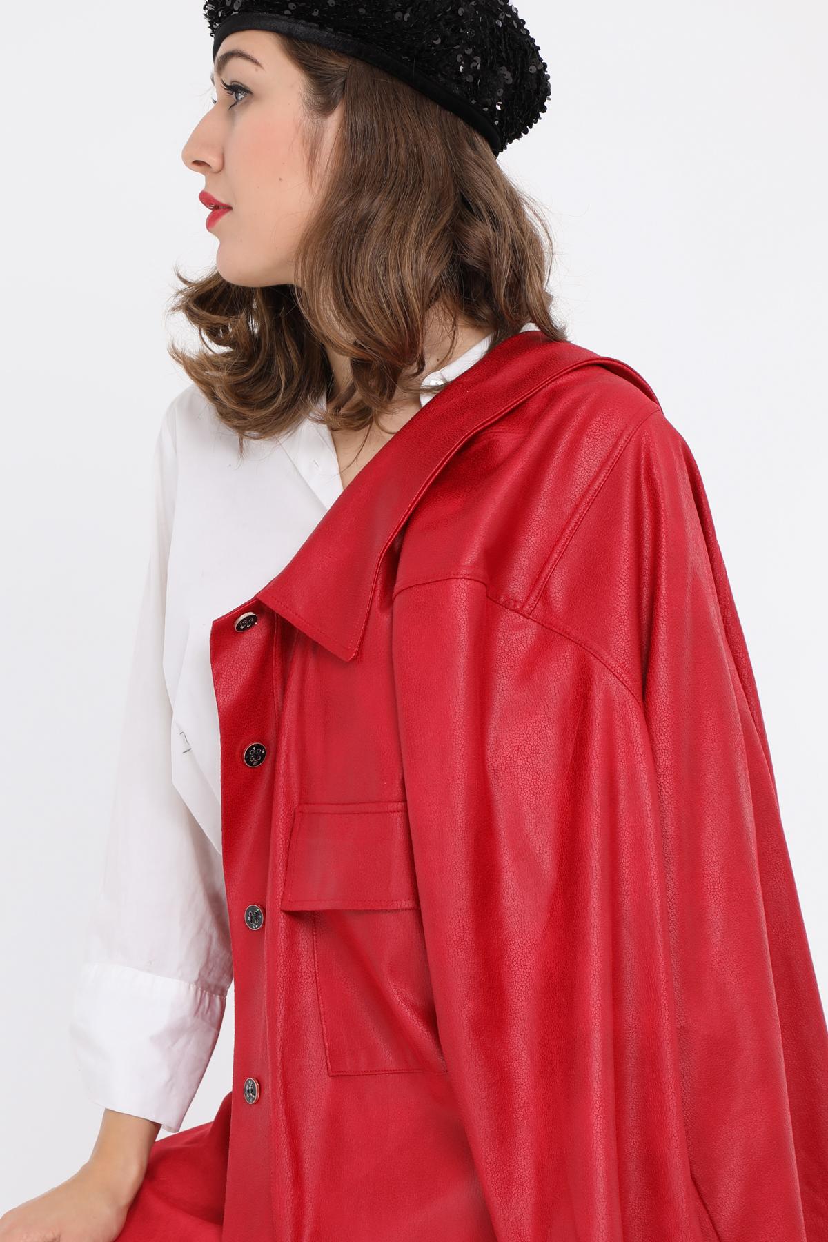 veste grande taille femme 2W PARIS c3409 simili suedine rouge 46-60