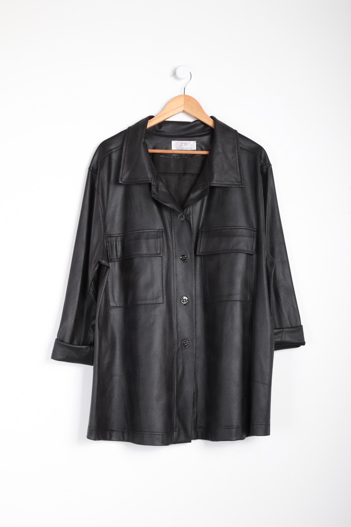 veste grande taille femme 2W PARIS c3409 simili suedine noir 46-60