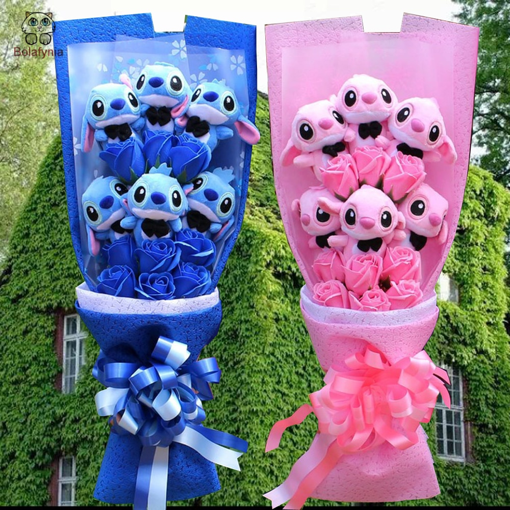 bouquet de peluches stitch bleu ou rose bolafynia