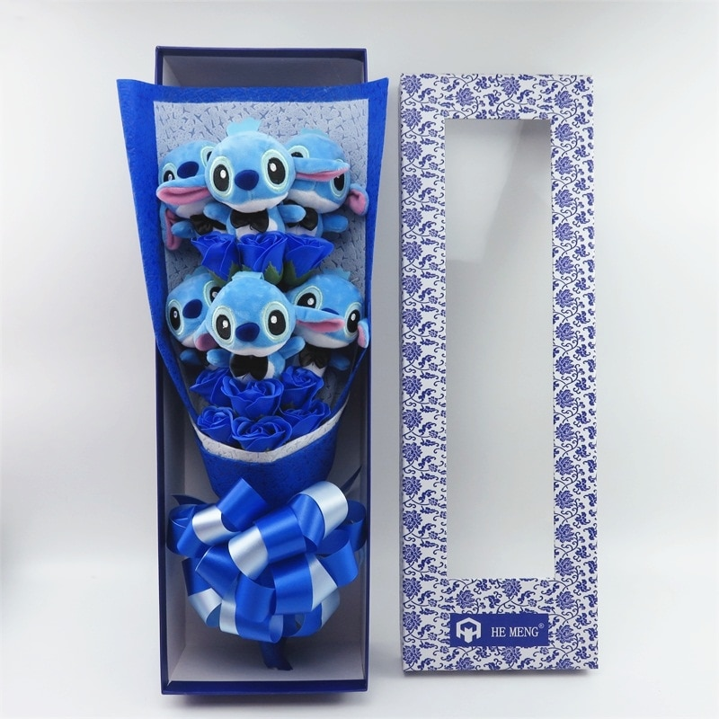 bouquet de peluches stitch ou roses artificielles hemeng divers modeles