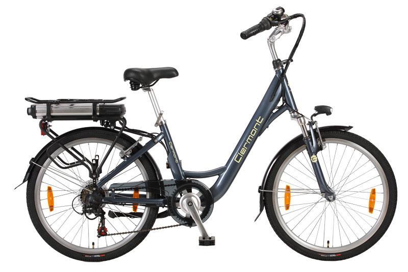 Vélo électrique haut de gamme femme Clermont 24 pouces gris bleu
