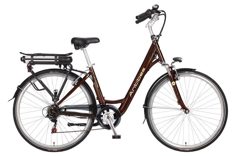 vélo électrique femme antibes H46 brun café 26