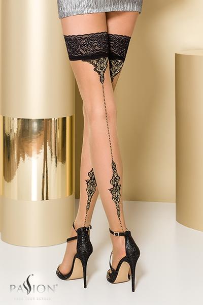 Bas fantaisie autofixant beige ST106 Passion lingerie