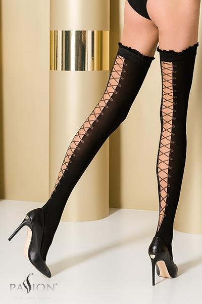 Bas fantaisie autofixant noir ST101 Passion lingerie