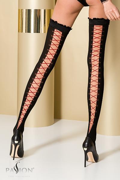 Bas fantaisie autofixant noir et rouge ST101 Passion lingerie