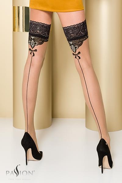 Bas fantaisie autofixant beige et noir ST103 Passion lingerie