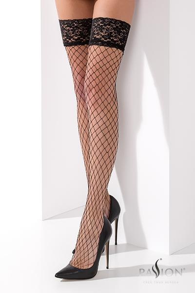 Bas resille noir autofixant ST021 Passion lingerie