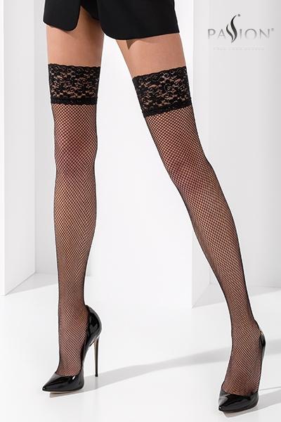 Bas fantaisie autofixant noir et rouge ST020 Passion lingerie