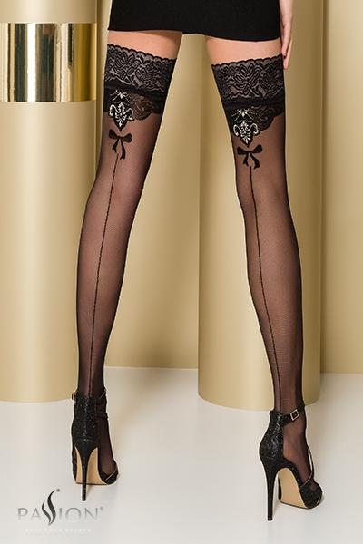 Bas fantaisie autofixant noir ST103 Passion lingerie