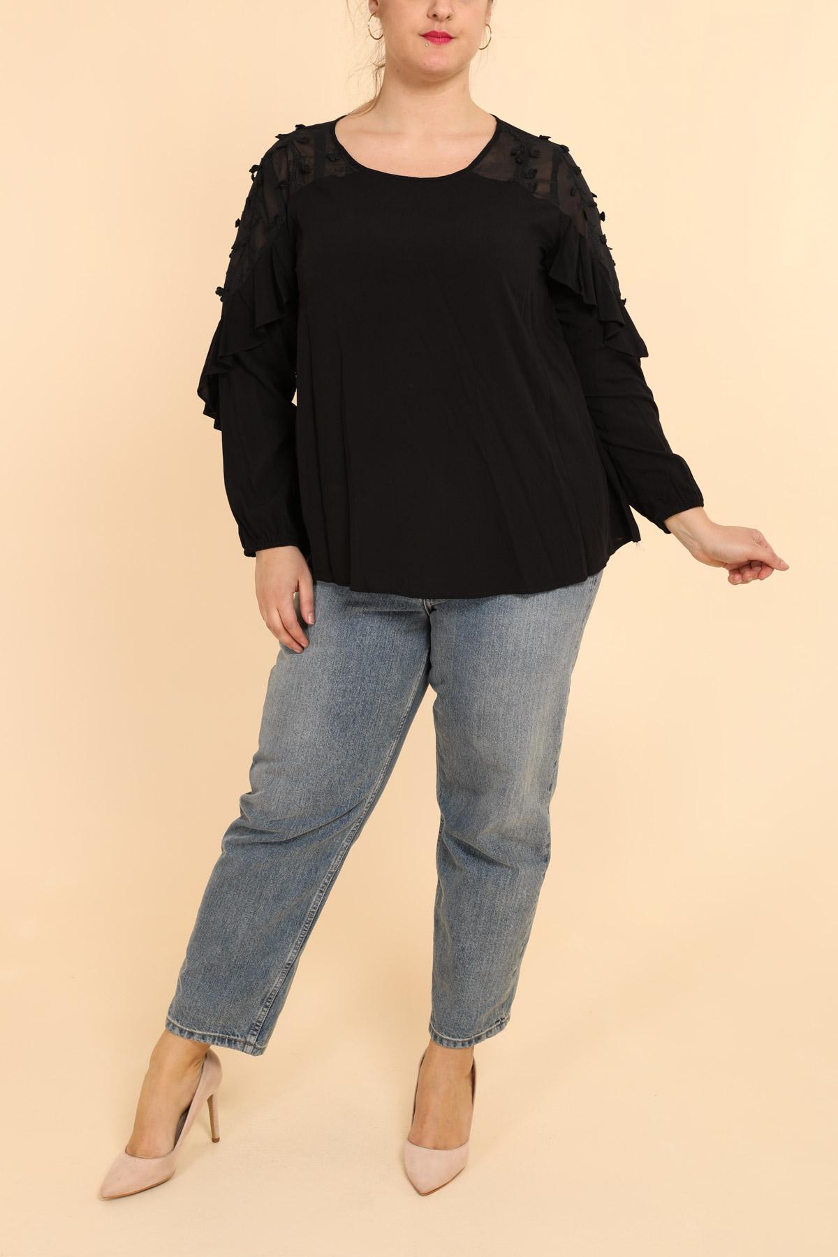 blouse grande taille femme pomme rouge c6187 noir 42-56