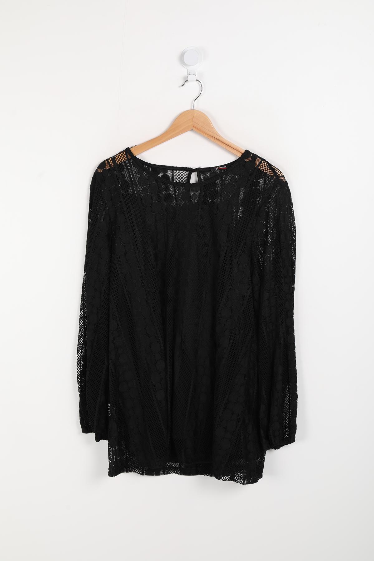 blouse grande taille femme pomme rouge c6186 noir 42-56