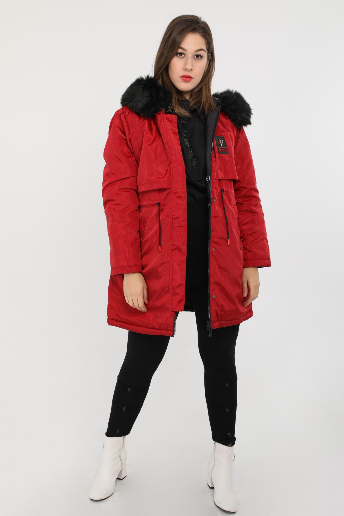 manteau grande taille femme pomme rouge c6171 rouge 42-56