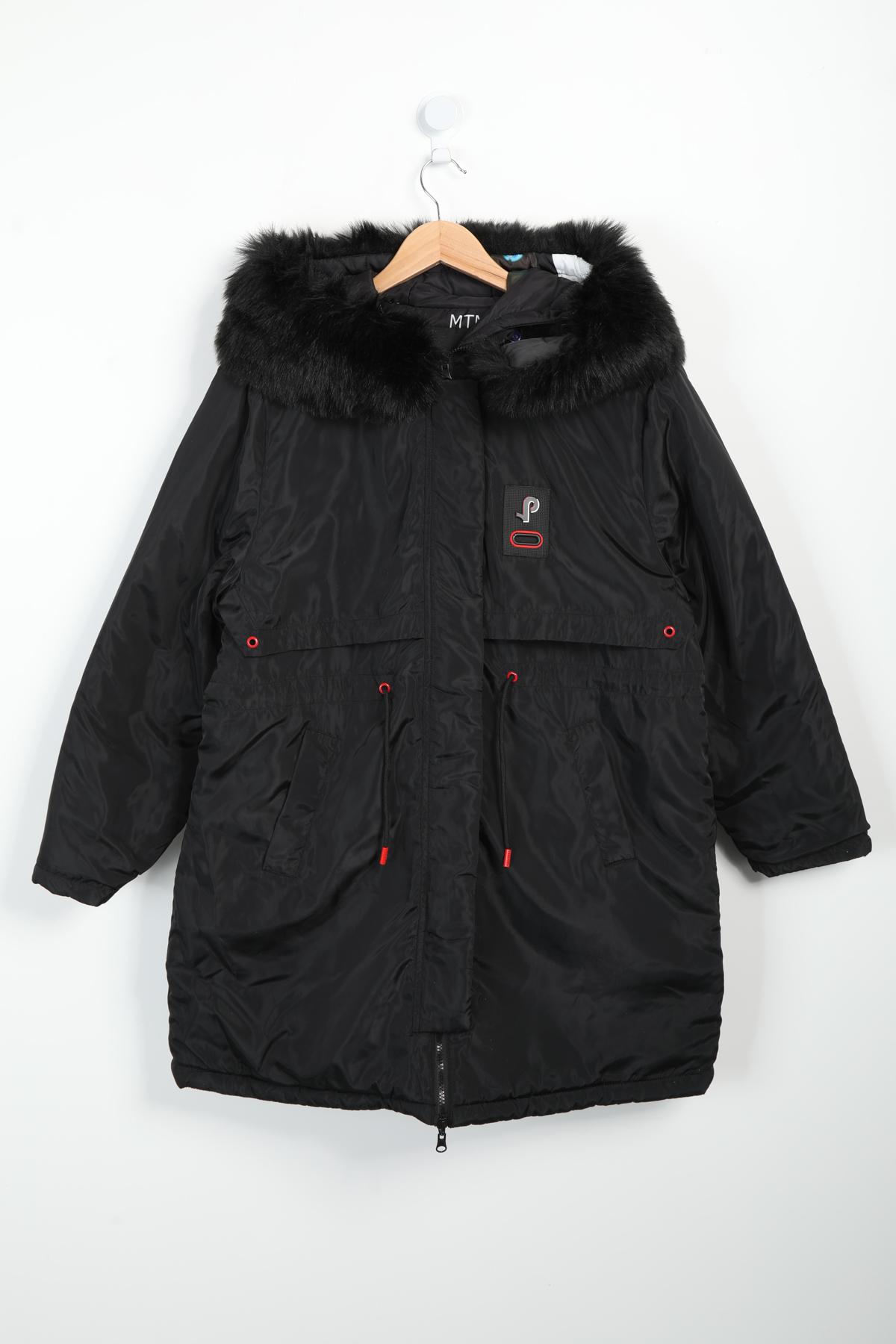 manteau grande taille femme pomme rouge c6171 noir 42-56