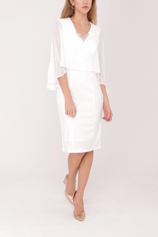 robe de cocktail mi longue ASHWI asm1701 blanc S au 5XL