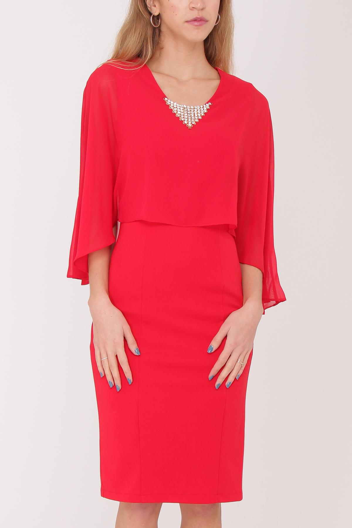 robe de cocktail mi longue ASHWI asm1701 rouge S au 5XL