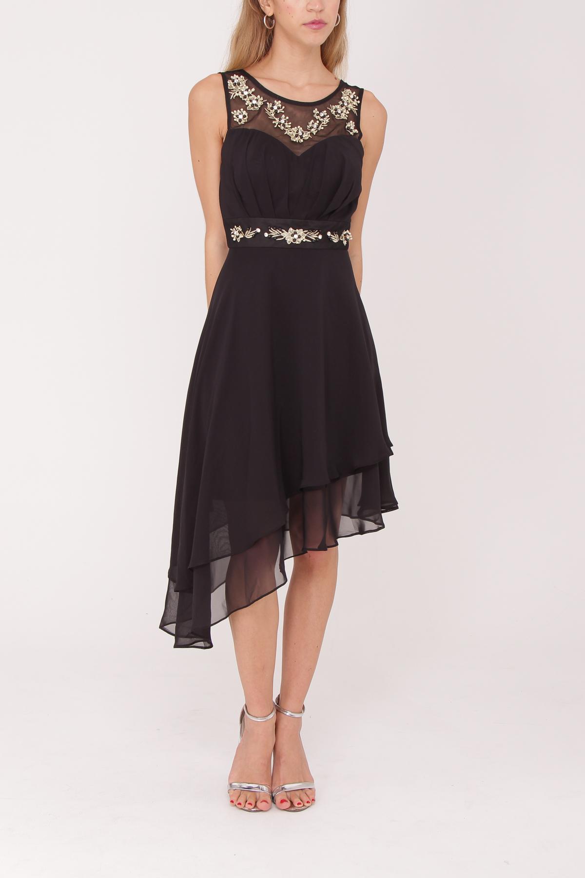 robe de cocktail mi longue ASHWI asm2915 noir S au 2XL