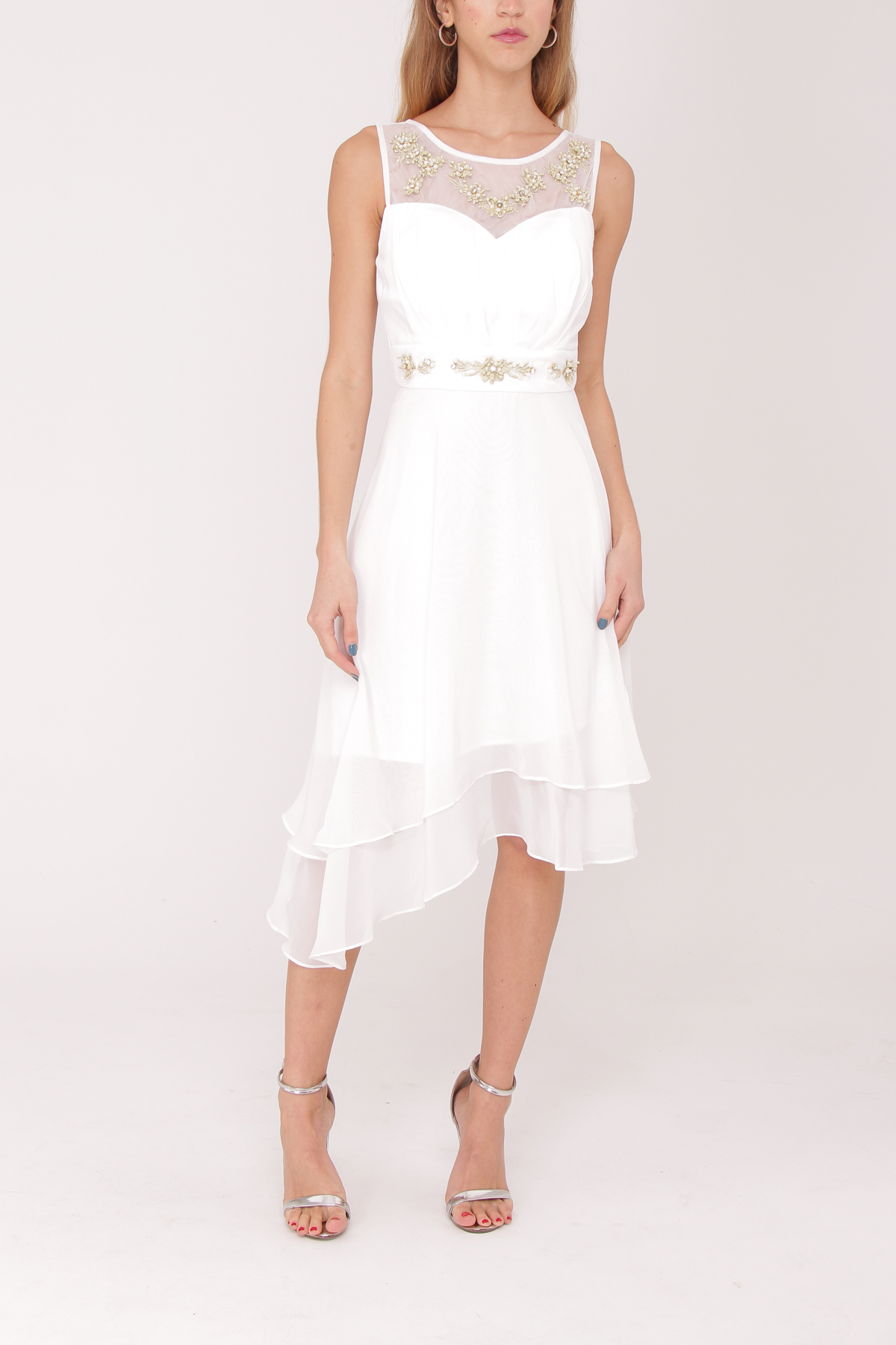robe de cocktail blanche mi longue ASHWI asm2915 blanc S au 2XL