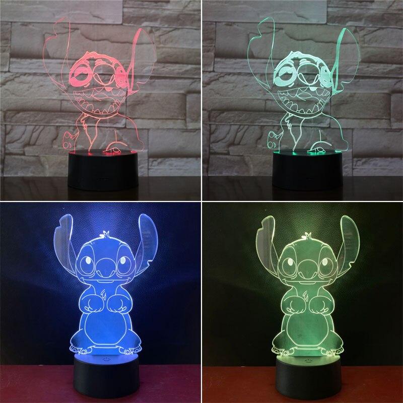 Veilleuse Stitch lampe hologramme 20 cm