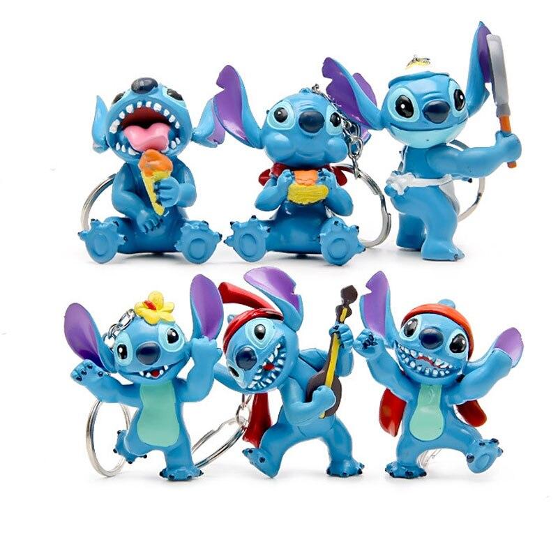 lot 6 figurines ou porte cle stitch 5-7 cm gleeooy