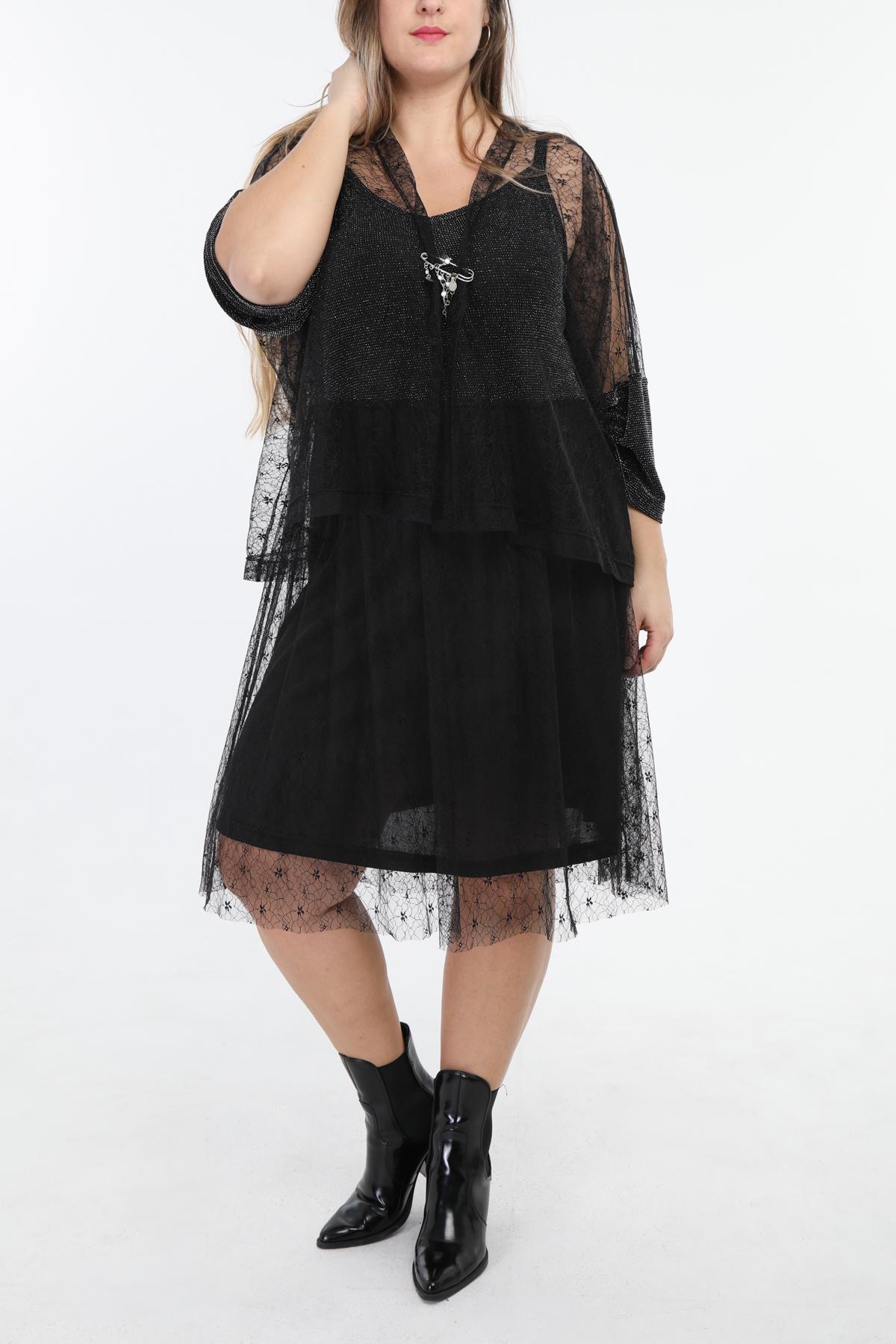 robe grande taille femme 2W PARIS en1300 noir argent 46-60