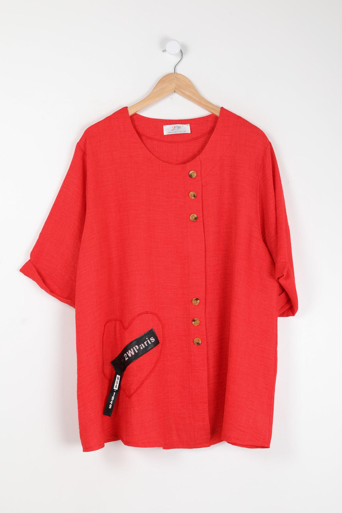 haut viscose grande taille femme 2W PARIS h3443 rouge 46-60