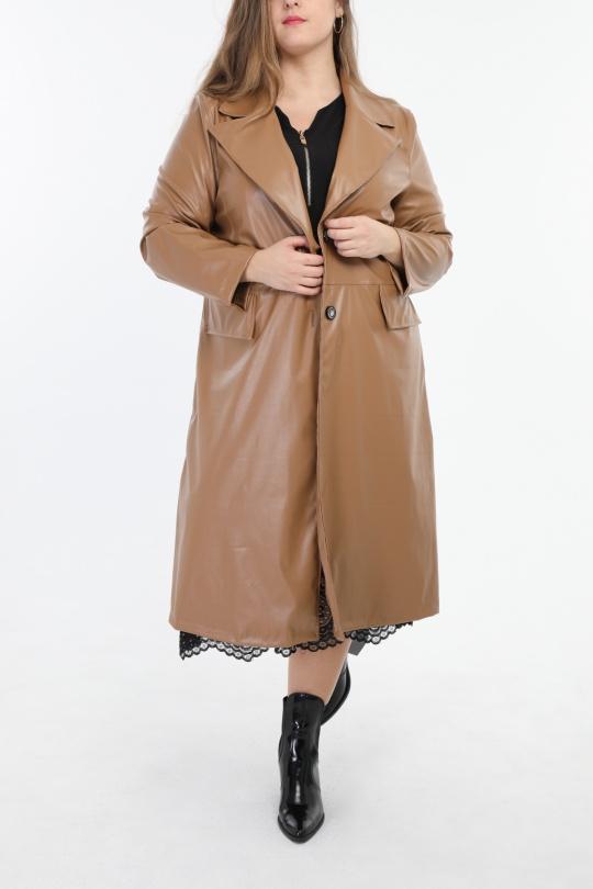 veste simili cuir grande taille femme 2W PARIS m1306 camel 46-60