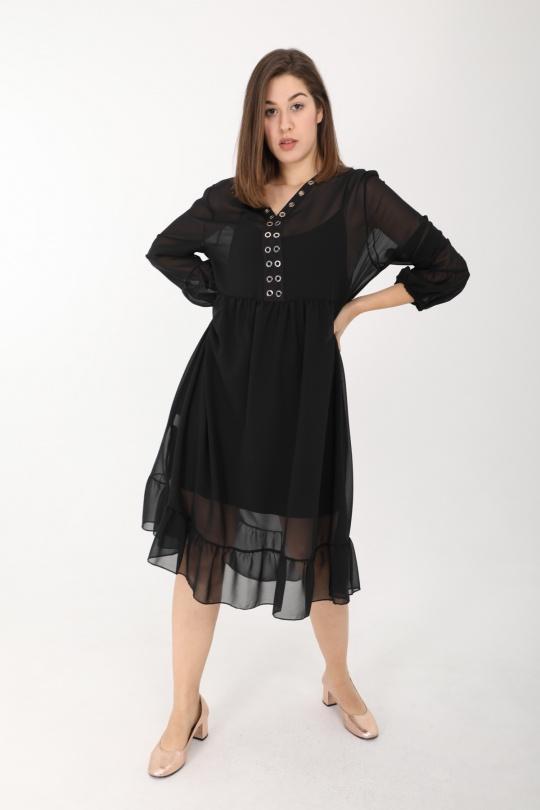 robe grande taille femme 2W PARIS r1298 noir 46-60