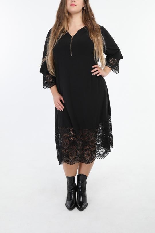 robe grande taille femme 2W PARIS r1305 noir 46-60