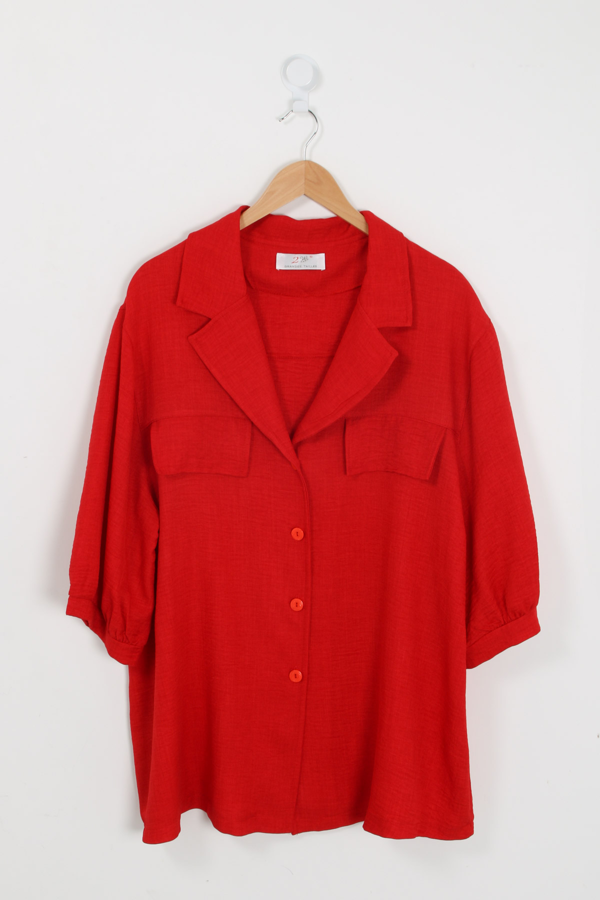 chemise grande taille femme 2W PARIS c1321 rouge 46-60