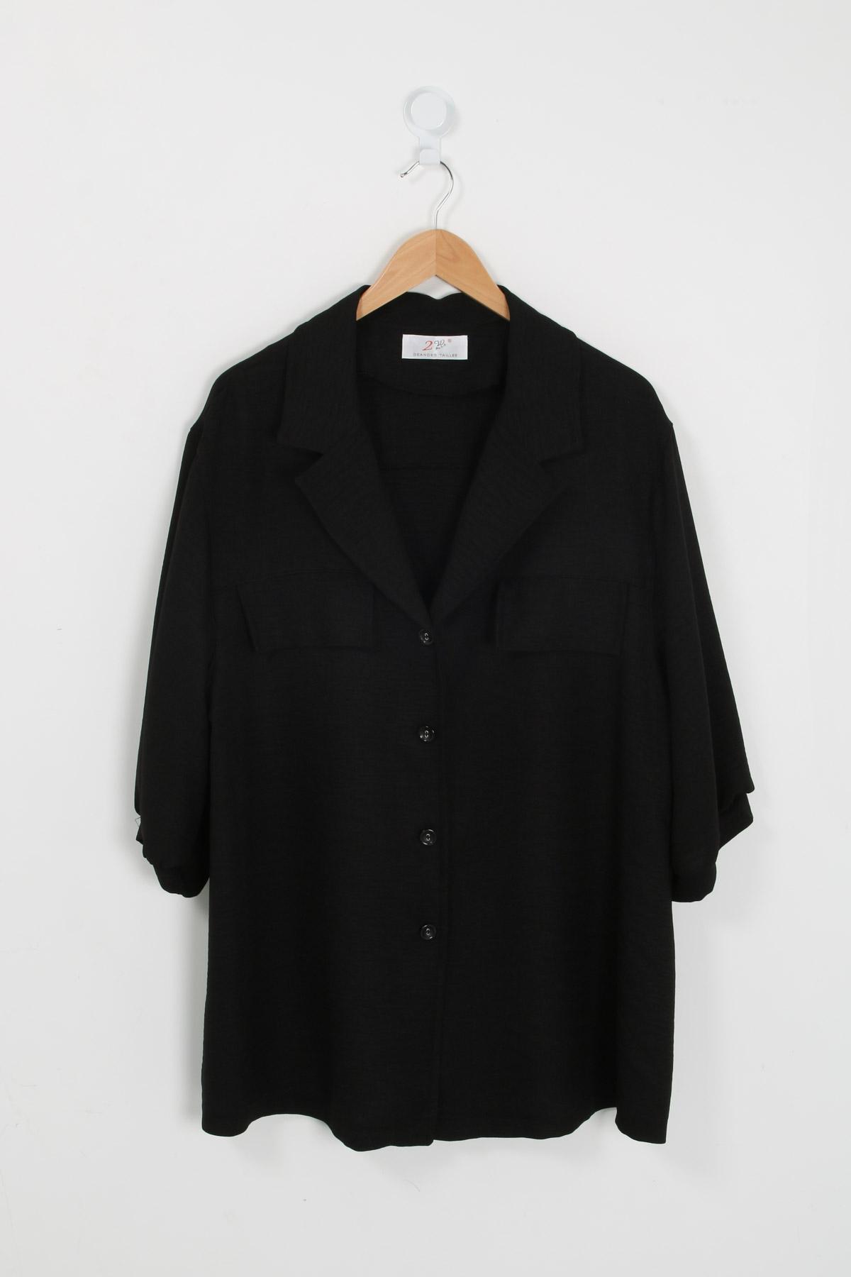 Chemise grande taille femme C1321 noir 2W PARIS